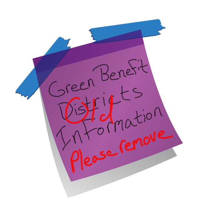 Green Benefit District Post-it